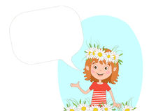 Joyful white girl with a wreath of chamomiles on her head on a blue sky background and bubble for text. Royalty Free Stock Images