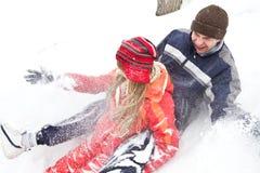 Joyful winter game Stock Images