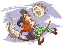 Joyful witch flying on a broomstick royalty free illustration