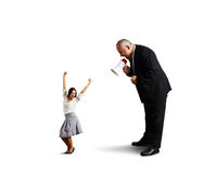 Joyful woman and angry screaming man Stock Images