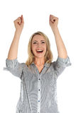 Joyful woman with arms raised Royalty Free Stock Image