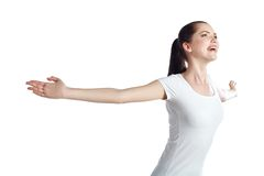 Joyful woman with arms raised outstretched Stock Image