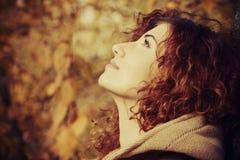 Joyful woman in autumn Stock Image