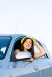 Joyful woman on car travel Stock Photo