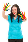 Joyful woman with colorful hands Stock Image