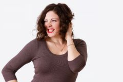 Joyful woman with curls Stock Images