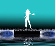 Joyful woman dancing. An abstract illustration of the outline of a woman as a white silhouette, dances joyfully on a stage or platform next to a body of water Stock Images