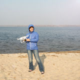 Joyful woman with drone Stock Photo