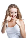 Joyful woman fights Royalty Free Stock Photos