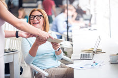Joyful woman getting a letter. Stock Photography