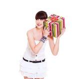 Joyful woman with gift. Portrait of joyful woman with gift. isolated on white background Stock Photography