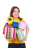 Joyful woman with gift boxes Stock Photo