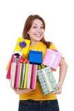 Joyful woman with gift boxes. Portrait of joyful woman with gift boxes. isolated on white background Stock Photo