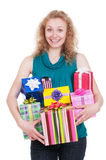 Joyful woman with gift boxes royalty free stock image