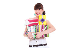 Joyful woman with gifts. Portrait of joyful woman with gifts. isolated on white background Royalty Free Stock Image