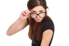 Joyful woman in glasses has a fun Stock Photography