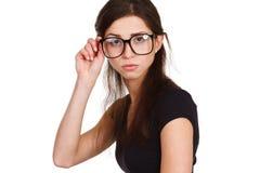Joyful woman in glasses has a fun Royalty Free Stock Photography