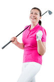 Joyful woman golfer enjoys his victory on a white Stock Images
