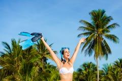 Joyful woman having fun in tropical caribbean beach vacation Royalty Free Stock Photo