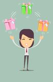 Joyful woman holding a lot of boxes with gifts Royalty Free Stock Photos