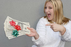 Joyful woman with Holiday money Royalty Free Stock Images