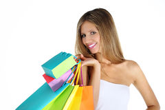 Joyful woman makes shopping Stock Photo