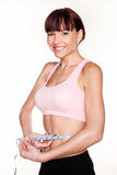 Joyful Woman Measuring Waist Royalty Free Stock Photo