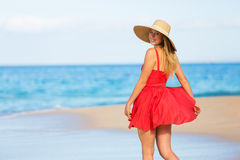Joyful Woman in Red Dress Royalty Free Stock Images