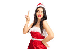 Joyful woman in Santa outfit having an idea Royalty Free Stock Photo