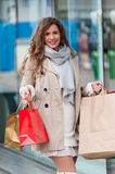 Joyful woman with shopping bags Royalty Free Stock Image