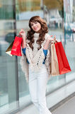 Joyful woman with shopping bags Royalty Free Stock Images