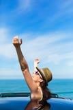 Joyful woman on summer car travel Stock Photography