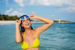 Joyful woman on summer travel vacation to caribbean tropical bea Stock Image