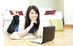 Joyful woman surfing the internet Stock Image