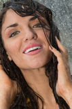 Joyful woman under rain Stock Photos