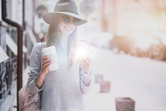Joyful woman walking in the city Royalty Free Stock Images