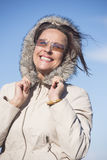 Joyful Woman warm winter jacket outdoor Royalty Free Stock Photo