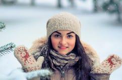 Joyful woman winter portrait Royalty Free Stock Images