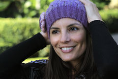Joyful woman with wool hat Stock Image
