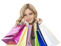 Joyful women customers with their purchases. Stock Photography