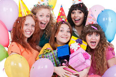 Joyful women with gifts Stock Image