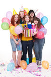 Joyful women with gifts and balloons Royalty Free Stock Image