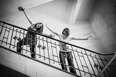 Joyful women on railing Stock Photos