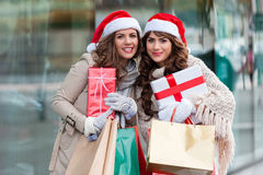 Joyful women with shopping bags Stock Photo