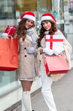 Joyful women with shopping bags Stock Image