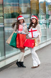 Joyful women with shopping bags Royalty Free Stock Photo