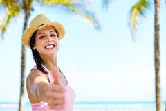 Joyful womman tropical summer travel Stock Photo