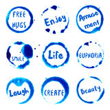 Joyful Words collection of round watercolor. Joyful Words collection of round watercolor stains with free hugs, smile, laugh, enjoy, euphoria, amusement, create Stock Image