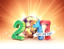 2017 Joyful worldwide greetings. 2017 New Year colorful type composed with a golden planet earth, on a sunny light background - 3D illustration stock illustration