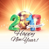2017 Joyful worldwide greetings. 2017 New Year colorful type composed with a golden planet earth, on a sunny light background - 3D illustration Royalty Free Stock Images